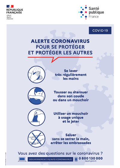affiche de prevention contre le coronavirus